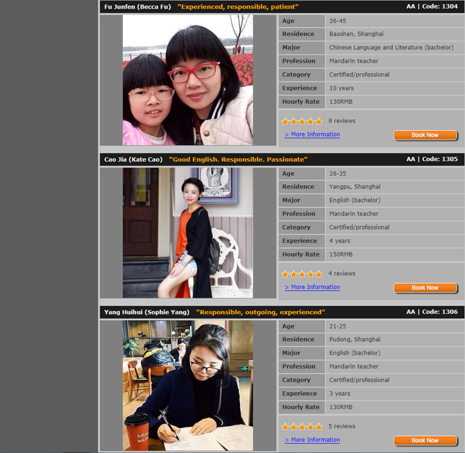 Shanghai Tutors Profile Listings